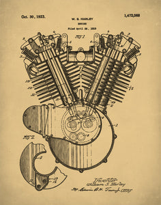 Harley Engine Patent Print, Harley Engine Poster, Harley EngineArt, P101