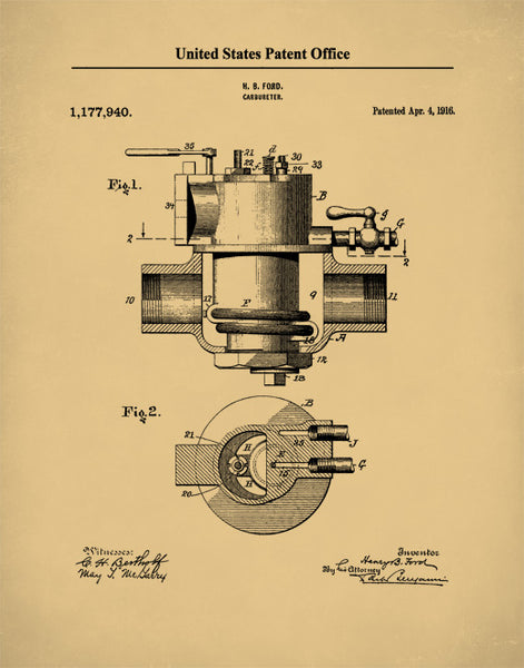 Patent Print Ford Carburetor, Henry Ford, Auto Art, Garage Decor, Car Art, P517