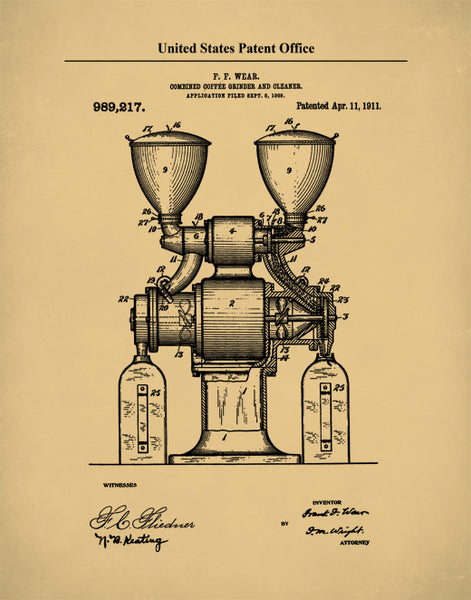 Combined Coffee Grinder Patent, Kitchen Art, Coffee Lover Gift, P614