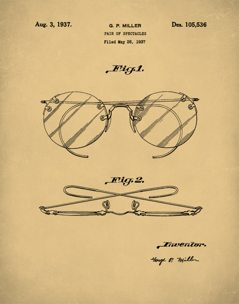 Eyeglasses Patent Print, Round Spectacle Glasses, Eyeglasses Poster, Glasses Art, P267