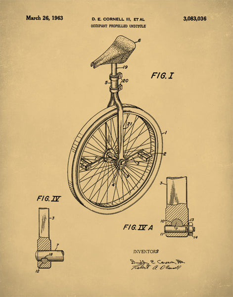 Unicycle Patent Prints, Unicycle Vintage Art, Unicycle Poster, P211