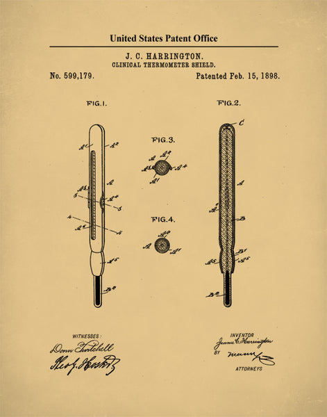 Thermometer Patent Print, Thermometer Design, Medical Equipment, Doctor Art, P509