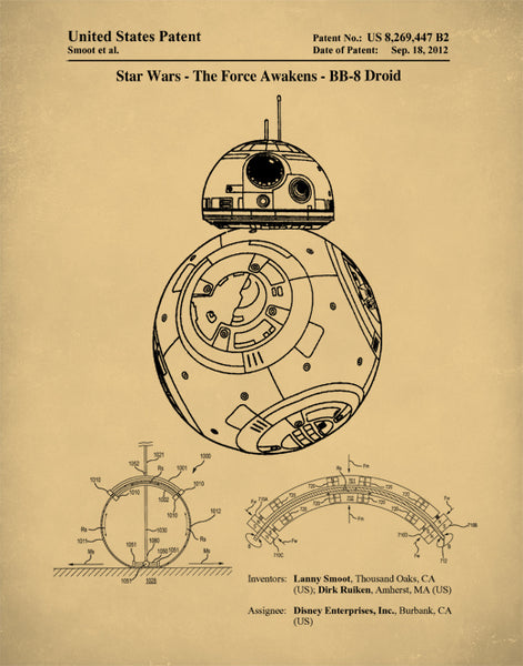 Star Wars BB-8 Patent Print, The Rogue One Poster, Star Wars BB-8 Poster, Star Wars Art, P236