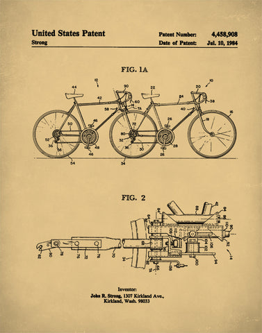 Tandem Bicycle Patent Print, Bicycle Patent Poster, Tandem Bicycle Print, Tandem Bicycle Art, P110