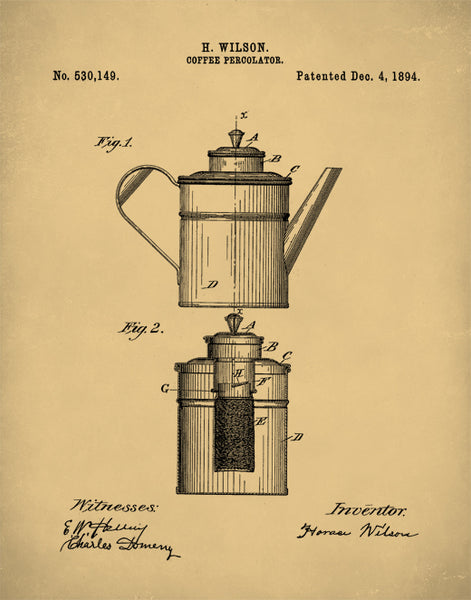 Coffee Percolator Patent Print, Coffee Percolator Poster, Coffee Percolator Art, P160