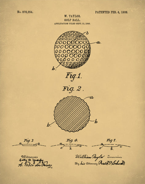 Golf Ball 1908 Patent Print, Golf Poster, Antique Golf, Vintage Golf, P338