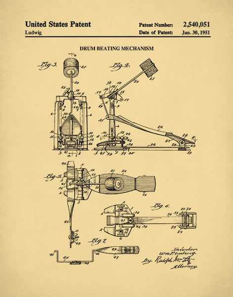 Bass Drum Pedal Patent Print, Music Room Decor, Musical Instrument Patent, P457