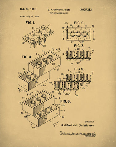Lego Building Block Patent Print, Lego Building Blocks Poster, Lego Building Block Art, P71
