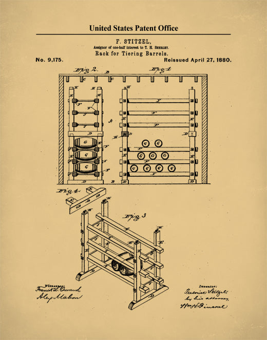 Whiskey Rack Patent Print, Whiskey Poster, Whiskey Art,  P513
