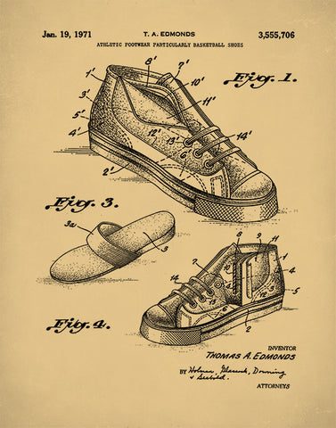 Basketball Shoe Patent Print, Basketball Poster, Sports Poster, Sports Print, P418