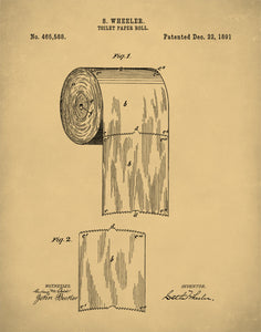 Toilet Paper Patent Print, Toilet Paper Art, Bathroom Wall Art, Restroom Decor, P149