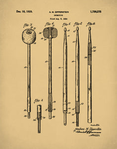 Drumstick Patent Print, Gift for Drummer, Percussion Instruments, P426