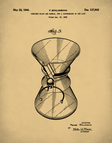 Chemex Coffee Pot Patent Prints, Coffee Pot Poster, Coffee Pot Print, P175