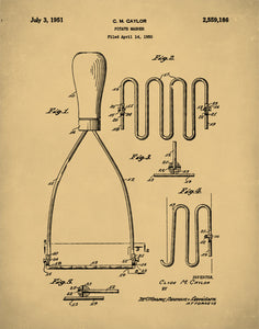 Potato Masher Patent Print, Potato Masher Patent Poster, Kitchen Art, Potato Masher Art, P301