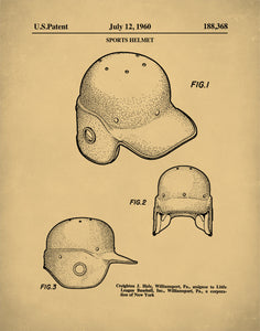 Baseball Helmet Patent Print, Boys Room Wall Decor, Batters Helmet, Sports Wall Art,P391