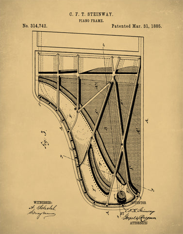 Grand Piano Patent Print Art, Vintage Steinway Patent Illustration, P283