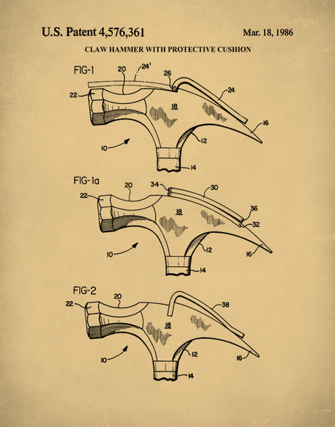 Claw Hammer Patent Poster, Hammer Patent Print,Tool Art, Tool Poster, P381
