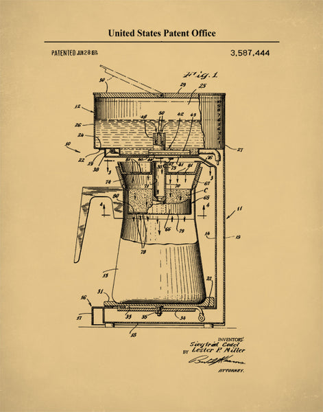 Drip Coffee Maker Patent Print, Drip Coffee Maker Patent Art, Coffee Patent Poster, P615