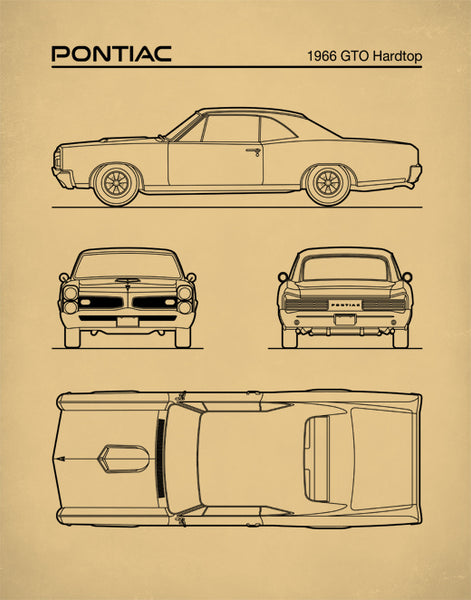 1966 Pontiac GTO Auto Art, Patent Prints, Car Art, GTO Poster, Pontiac Wall Art, P540
