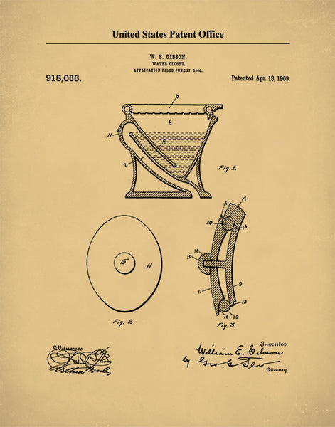 Siphoning Water Closet Patent Poster, Toilet Art, Bathroom Wall Decor, P523
