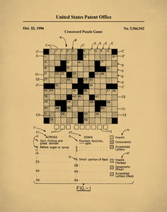 Crossword Puzzle Patent Print, Crossword Art, Crossword Puzzle Poster, P632