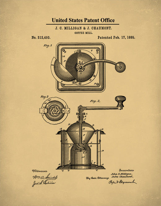 Coffee Grinder Patent Print, Coffee Decor, Kitchen Decor, Coffee Grinder Art, P445