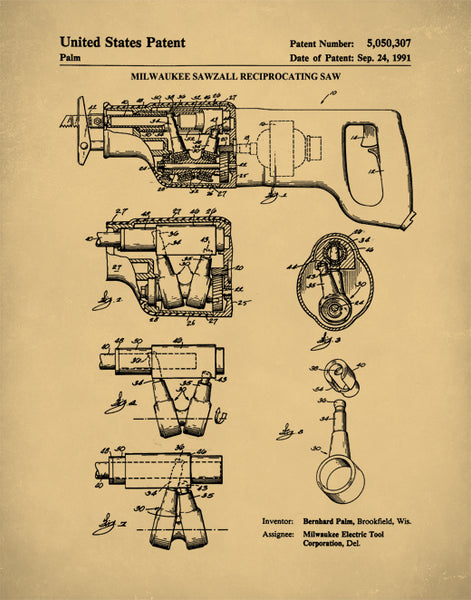 Reciprocating Saw Patent Print,  Patent Poster, Woodworking Tools, Garage Art, P378