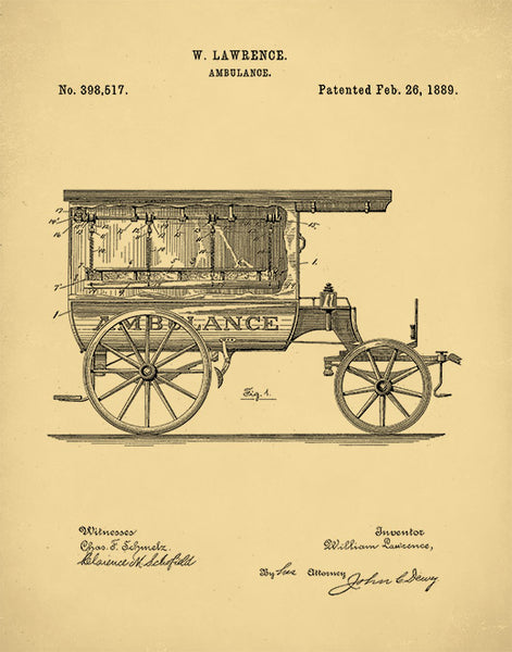 1889 Ambulance Patent Print, Doctors Office Decor, Waiting Room Art, P198