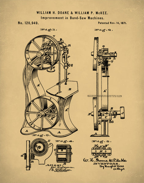 Bandsaw Patent Print, Patent Poster, Band Saw Art, P386