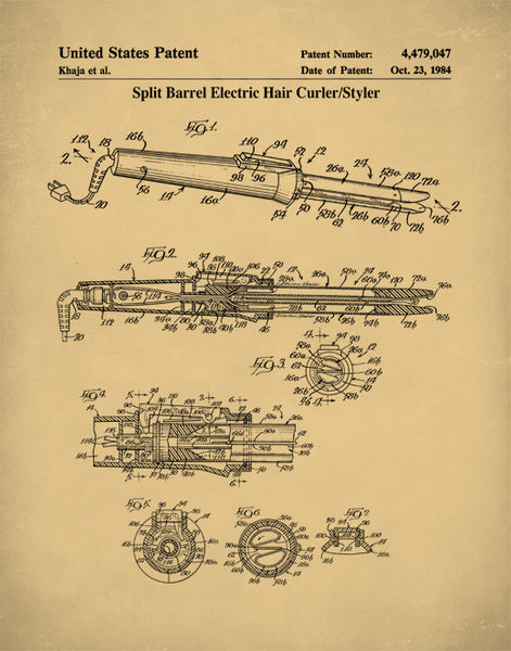 Curling Iron Patent Poster, Curling Iron Print, Curling Iron Art, P161