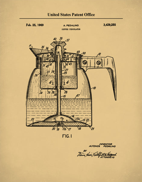 Coffee Percolator Patent Print, Kitchen Wall Art Poster, Coffee Percolator Design, P613