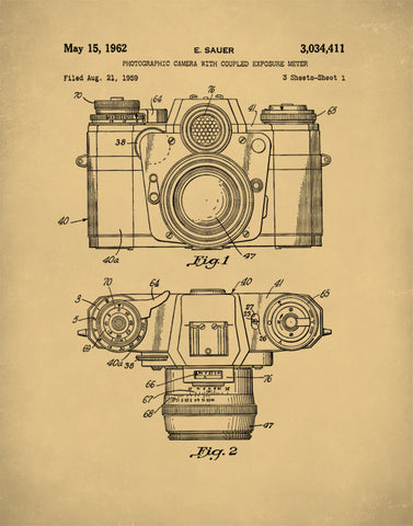 Camera Patent Print, Camera Poster, Camera Art, Camera Wall Art, P88