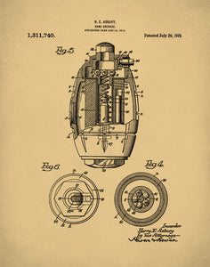 Hand Grenade Patent Poster, World War 1, Military Art, Army Wall Decor, P423