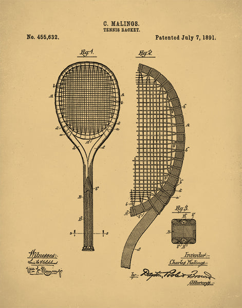 Tennis Racket 1892 Patent Poster, Tennis Art, Tennis Racket Art, P215