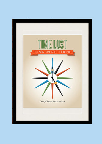 George Nelson Clock with Inspirational Quote - Time lost Can Never Be Found, Mid-century Modern, Kitchen Art Print, AW23