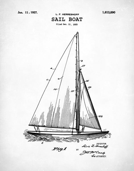 Sailboat Patent Print, Sailboat Patent, Sailboat Poster, Sailboat Art, Sailboat Decor, P145