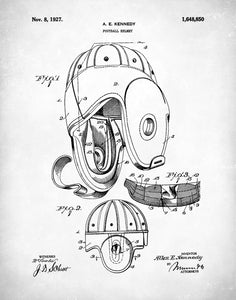 Football Helmet Patent Print, Football Leather Helmet 1927, Patent Poster, P417