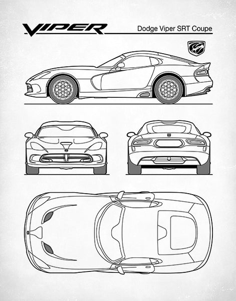 Auto Art, Dodge Viper Patent Print, Dodge Viper SRT Coupe, Car Art, Dodge Viper Poster, P482
