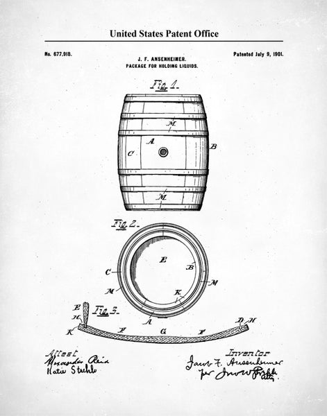 Whiskey Barrel Patent Poster, Patent Print Whiskey Making , Whiskey Barrel Wall Art, P512