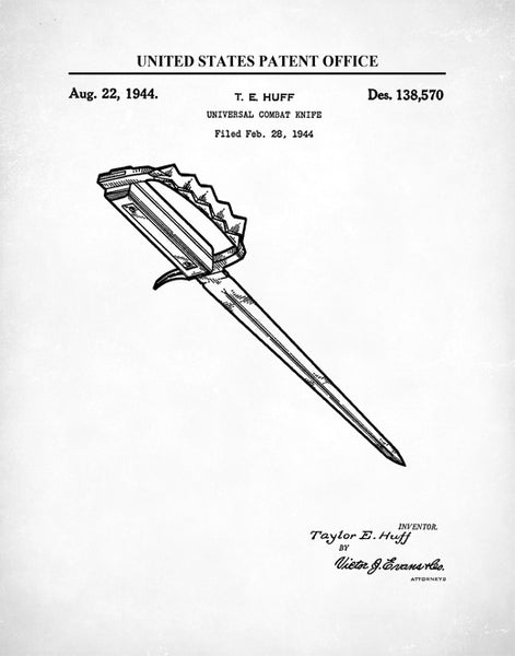 Universal Combat Knife Patent Print, Weapon Art, Weapon Drawing, Military Drawing, P504