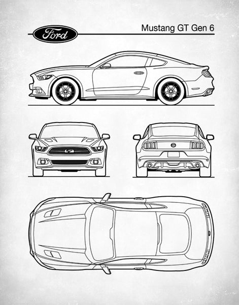 Ford Mustang Gen 6, Auto Art, Patent Print, Car Art, Ford Mustang Art,  P454