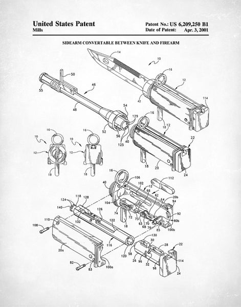 Convertable Sidearm Patent Print, Convertable Knife To Firearm, Weapon Art, P502