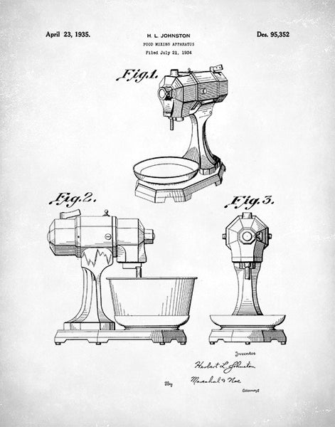 Kitchen Mixer Patent Print, Kitchen Aid Poster, Mixer Art, P66