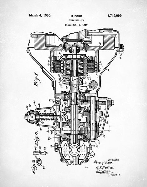 Transmission Patent Print, Henry Ford Transmission Poster, Auto Art, Car Art, P69