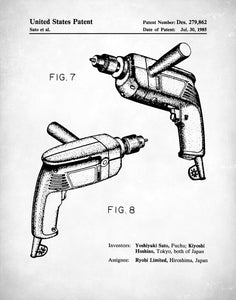 Electric Drill Patent Poster, Tool Art, Garage Decor, Woodworking Tools, P410