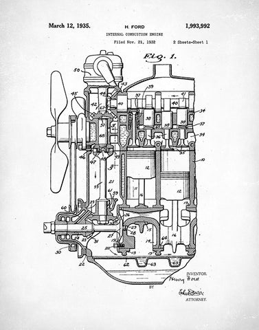 Ford Engine Patent Poster, Internal Combustion Engine Print, Auto Engine Art, P94