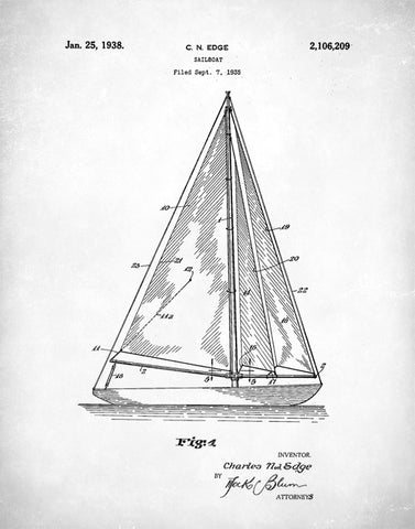 Sailboat Patent Print, Sailboat Poster, Sailboat Print, Sailboat Art, Sailboat Decor, Sailboat Wall Art, P118
