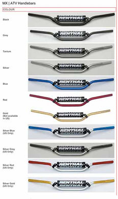 Renthal 7/8th ATV and offroad handlebars are available in a range of colours - not all available for the New Zealand market and varies with bends