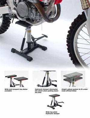 DF-D011-1641 - DRC A1164 offroad bike lift stand with damper which fits under most dirt bikes from 65cc up to full size dirt bikes