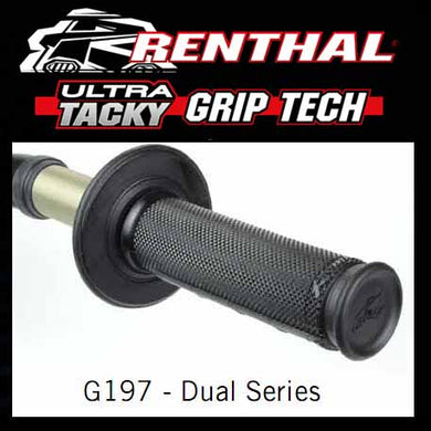RE-G197 - Renthal Ultra Tacky Dual Compound Grips - 1/2 Waffle dual compound grips - if the grips lose their stickiness at any stage of their lifetime, simply wash with clean water and allow to air dry to reactivate it